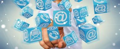 Homem de negócios que usa a rendição de flutuação do contato 3D do cubo Fotos de Stock