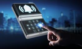 Homem de negócios que usa a rendição home do dispositivo de segurança 3D do alarme Fotografia de Stock Royalty Free