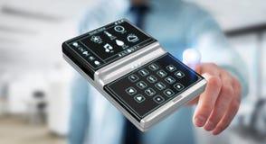 Homem de negócios que usa a rendição home esperta do dispositivo remoto 3D Fotografia de Stock Royalty Free