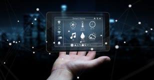 Homem de negócios que usa a rendição home esperta do dispositivo remoto 3D Imagens de Stock