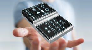 Homem de negócios que usa a rendição home esperta do dispositivo remoto 3D Imagem de Stock Royalty Free