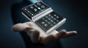 Homem de negócios que usa a rendição home esperta do dispositivo remoto 3D Fotos de Stock Royalty Free