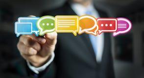 Homem de negócios que usa a rendição lisa colorida dos ícones 3D da conversação Imagens de Stock
