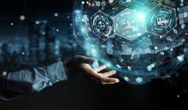 Homem de negócios que usa a rendição médica digital da esfera 3D Imagem de Stock Royalty Free
