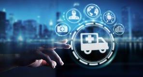 Homem de negócios que usa a rendição médica digital da relação 3D Imagens de Stock