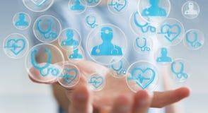 Homem de negócios que usa a rendição médica moderna da relação 3D Imagem de Stock