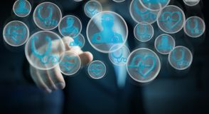 Homem de negócios que usa a rendição médica moderna da relação 3D Fotografia de Stock