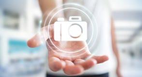 Homem de negócios que usa a rendição moderna da aplicação 3D da câmera Imagem de Stock