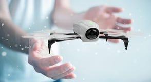 Homem de negócios que usa a rendição moderna do zangão 3D Fotografia de Stock