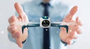 Homem de negócios que usa a rendição moderna do zangão 3D Imagens de Stock