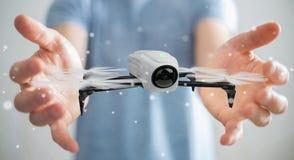 Homem de negócios que usa a rendição moderna do zangão 3D Imagem de Stock