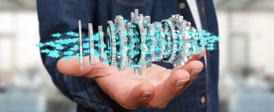 Homem de negócios que usa a rendição moderna de flutuação do mecanismo de engrenagem 3D Fotografia de Stock