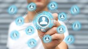 Homem de negócios que usa a rendição social azul da rede 3D Imagem de Stock Royalty Free