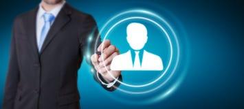 Homem de negócios que usa a rendição social digital da rede 3D Imagens de Stock