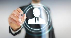 Homem de negócios que usa a rendição social digital da rede 3D Foto de Stock