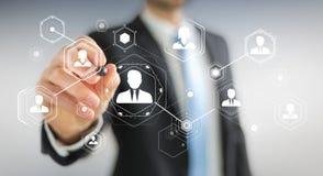 Homem de negócios que usa a rendição social digital da rede 3D Imagem de Stock