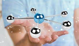 Homem de negócios que usa a rendição de voo da rede 3D das esferas 3D Foto de Stock Royalty Free
