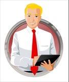Homem de negócios que usa a tabuleta digital Ilustração Stock