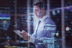 Homem de negócios que usa a tabuleta digital 3D Imagens de Stock Royalty Free