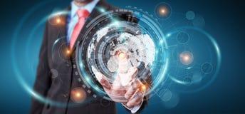 Homem de negócios que usa a tela do holograma com dados digitais Imagens de Stock Royalty Free