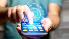 Homem de negócios que usa um botão technologic do computador do Shinny em um smar Imagem de Stock Royalty Free