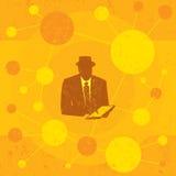Homem de negócios que usa um computador da tabuleta Foto de Stock Royalty Free