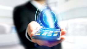 Homem de negócios que usa um smartphone com um cacifo technologic do Shinny Fotos de Stock Royalty Free