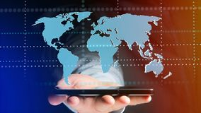 Homem de negócios que usa um smartphone com um mapa do mundo conectado - 3d r Foto de Stock Royalty Free
