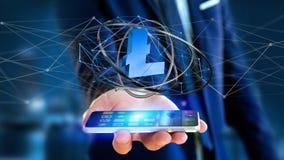Homem de negócios que usa um smartphone com um si cripto da moeda de Bitcoin Imagens de Stock Royalty Free