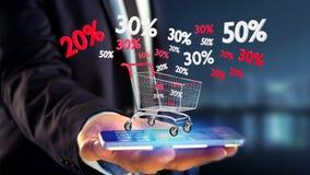 Homem de negócios que usa um smartphone com um trole vermelho e branco e Fotografia de Stock Royalty Free