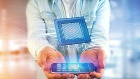 Homem de negócios que usa um smartphone com uma microplaqueta e uma rede de processador Fotografia de Stock