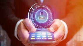 Homem de negócios que usa um smartphone com uma rede technologic do Shinny Imagem de Stock Royalty Free
