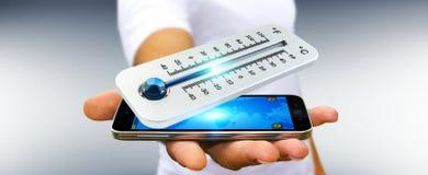 Homem de negócios que verifica a rendição da gota 3D da temperatura Fotografia de Stock Royalty Free
