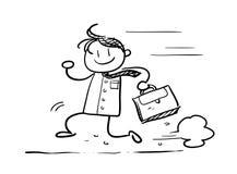 Homem de negócios running Doodle Imagem de Stock Royalty Free