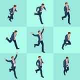 Homem de negócios running isométrico ajustado Homem de negócios Man no fundo branco Poses isométricas do caráter Povos dos desenh ilustração do vetor