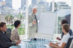 Homem de negócios sério que dá uma apresentação Fotografia de Stock Royalty Free