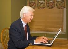 Homem de negócios sênior no portátil fotos de stock