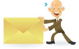 Homem de negócios sênior que empurra o envelope Fotografia de Stock Royalty Free