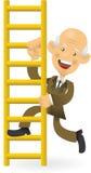 Homem de negócios sênior que escala a escada corporativa Fotografia de Stock