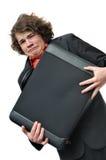Homem de negócios scared de grito com pasta da terra arrendada imagens de stock royalty free