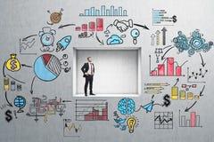 Homem de negócios seguro em uma parede startup colorida Fotografia de Stock Royalty Free