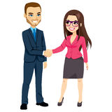 Homem de negócios Shaking Hands Businesswoman ilustração do vetor