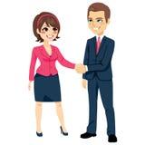 Homem de negócios Shaking Hands Businesswoman ilustração stock