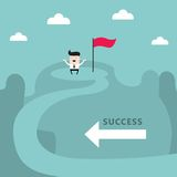 Homem de negócios sobre o conceito do negócio da realização do objetivo do sucesso da montanha Fotos de Stock Royalty Free