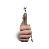 Homem de negócios sobre o polegar Fotografia de Stock Royalty Free