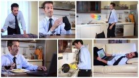 Homem de negócios solteiro em casa vídeos de arquivo