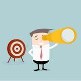 Homem de negócios Spyglass Target Fotografia de Stock Royalty Free