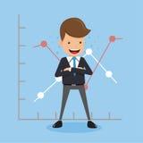 Homem de negócios Standing Chest Hug e fundo dos gráficos Estilo liso da ilustração do vetor do negócio do conceito ilustração do vetor