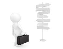 Homem de negócios Standing na frente dos sinais de estrada Imagens de Stock
