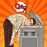 Homem de negócios Stressed no escritório Esforço no trabalho Pop art fotografia de stock